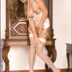 Sandra Shine White Lingerie and Heels