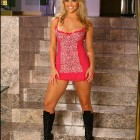 {marliemoore} Marlie Moore in a Short Pink Dress and Black Boots