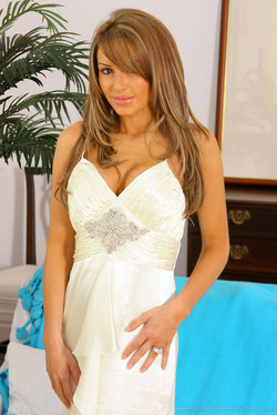 Gemma Massey Satin Gown with White Stockings