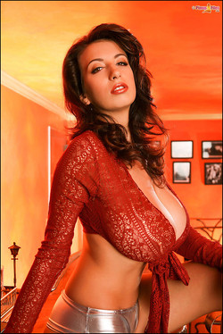 Jana Defi Huge Red Hot Boobs in an Orange Glow
