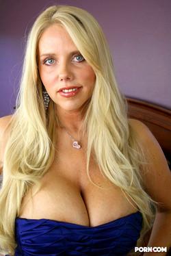 Karen Fisher Busty Cougar in a Blue Dress