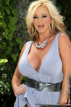 Rachel Aziani Big Boobed MILF Loses Powder Blue Dress