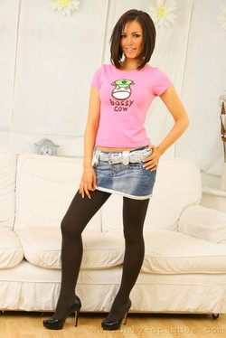 Gemma Massey Buxom Babe Struts in Black Pantyhose