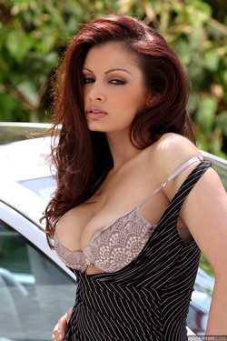 Aria Giovanni Naturally Busty Babe Naked on a Mercedes