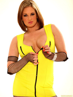 Tory Lane Busty Pornstar Blindingly Sexy in Bright Yellow