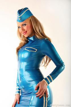 Ancilla Tilia Flies the Kinky Skies as Latex Stewardess