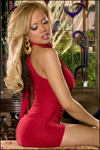 Carla Maria Sensual Blonde Scintillating in Red Dress