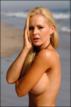 Katie Lohmann Busty Blonde Bikini Model at the Beach