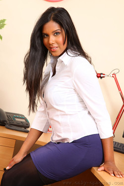 Alyssa Dee Short Skirt and Stockings at the Office