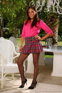 Charli Delu Brunette in Short Skirt and Black Stockings