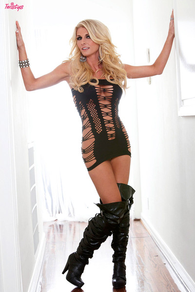 Alicia Secrets Blonde in Boots with a Dildo