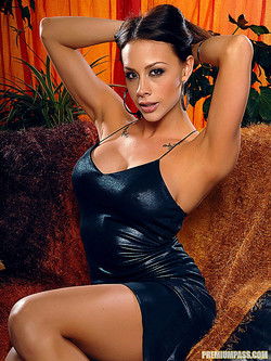 Chanel Preston Buxom Bombshell in Black Dress and Boots