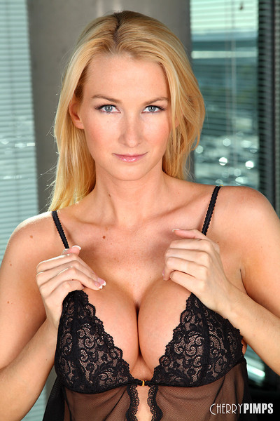 Blake Rose Whips Big D-cup Breasts out of Black Lace Lingerie