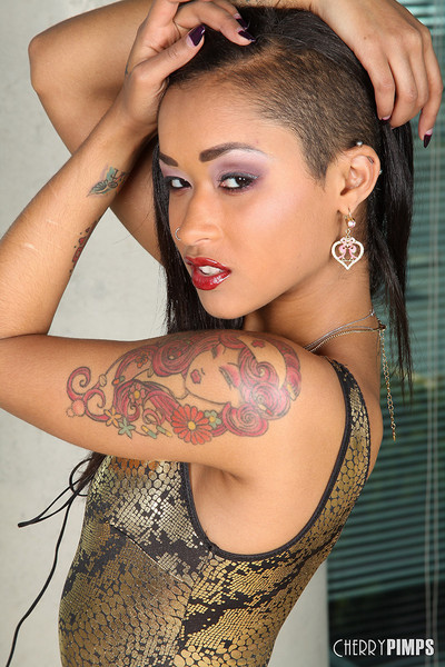 Skin Diamond Petite Exotic Beauty in Sheer Stockings and High Heels