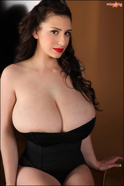 September Carrino Drops Corset and Jaws with Whopping Natural JJ Breasts