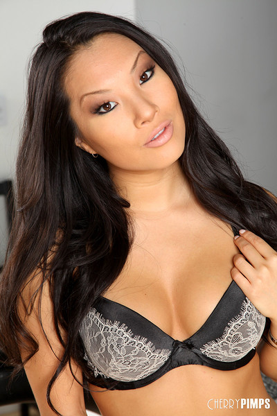 Asa Akira Busty Asian Pornstar Strips Black and Grey Lingerie