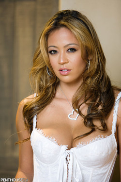 Mia Lelani Hot Filipina Blonde in Tight White Corset and Stockings