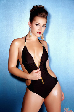 Dani Daniels Glamourous and Sexy in Black Swimsuit and Heels