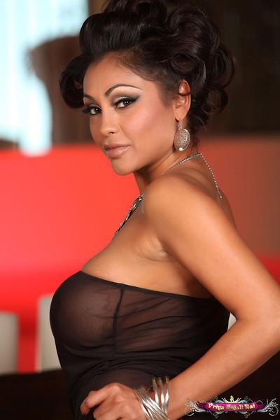 Priya Rai Showcases Big Bronze Boobs in Sheer Black Leotard