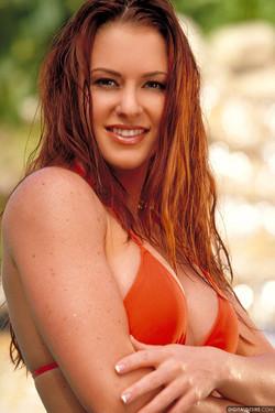 Victoria Red Wet and Wild in Orange Bikini