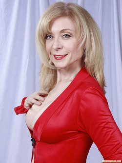 Nina Hartley Sexy Mature Pornstar Ravishing in Red Lingerie Wrap