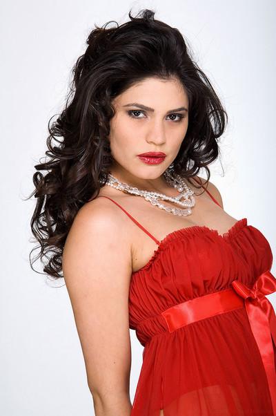Paola Rey Brazilian Bombshell Sizzling in Short Red Nightie