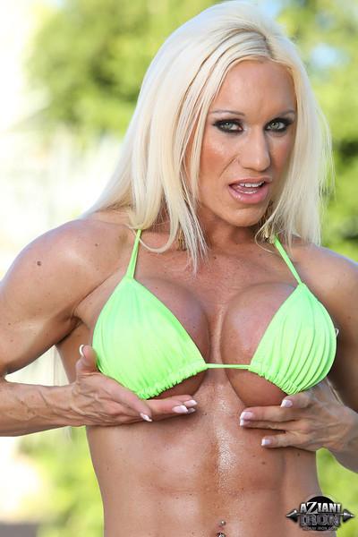 Ashlee Chambers Busty Fitness Model in Small Green Bikini