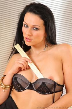 Katya Nova Sexy Secretary Measures Up in Sheer Stockings
