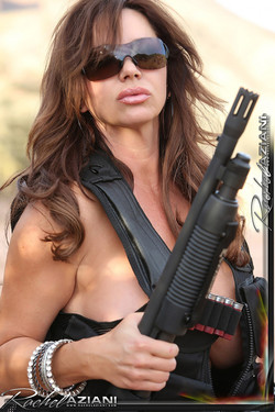Rachel Aziani Gun-Toting Busty MILF Off-Road Striptease