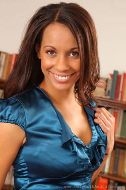 Emilia Sayers Brunette Hottie in Sold Blue Stockings