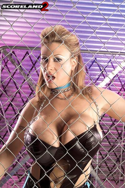 Crystal Gunns Big Boob Blonde in a Cage