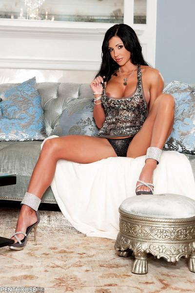 Jewels Jade Busty Fitness Model Sheds Shiny Tank Top