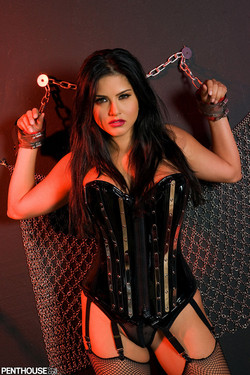 Sunny Leone Indian Pornstar Bound in Leather and Chains