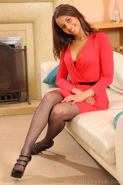 Emilia Sayers Ebony Beauty Teases in Black Stockings