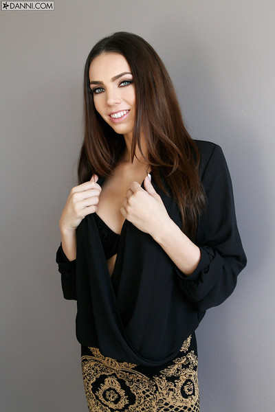 Tiffany Tyler Sits Firm White Breasts on Black Bra