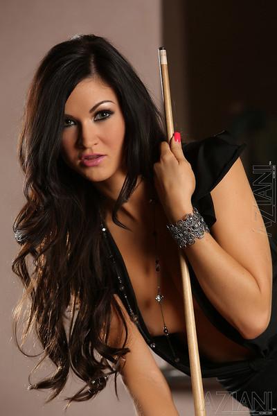 Kendall Karson Foxy Brunette Pornstar Flashes on Pool Table