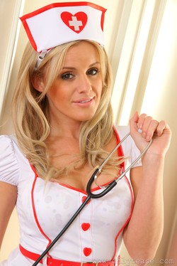 Amy Green Sexy Nurse Strips to her Pantyhose