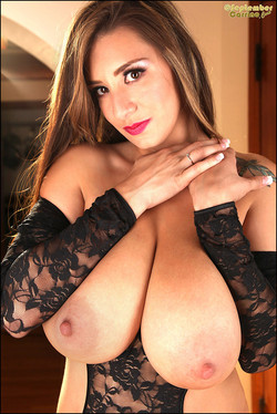 September Carrino Huge JJ Boobs in Black Lace