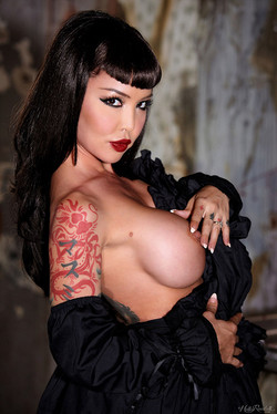 Masuimi Max Busty Inked Vixen Enchants with Lace and Umbrella