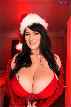 Rachel Aldana Big Boob Santa's Helper in Red Lace Lingerie
