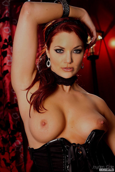 Jayden Cole Redhead Seductress in Lingerie and Fishnets