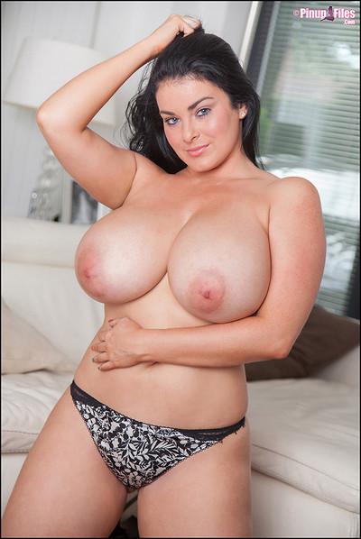 Karla James British Pinup Bombshell Bares Huge K-Cup Breasts