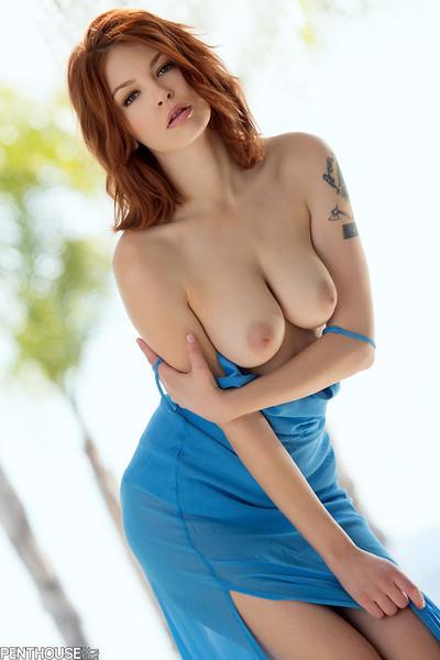 Bree Daniels Sleek Sexy Redhead Steps Out of Long Blue Dress