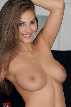 Connie Carter Busty Babe with Light Brown Hair Strips