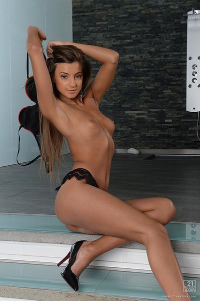 Maria Rya Russian Cutie Strips Off Lacy Bra and Panties
