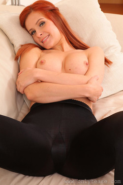 Elle Richie Perky Redhead Flirts in Solid Black Pantyhose