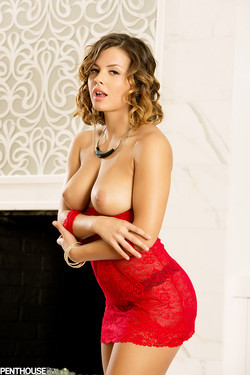 Keisha Grey Sexy Bombshell in Red Lace Lingerie