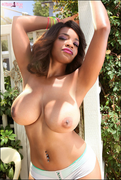 Andrea Marquez Flashes Huge Boobs in the Garden