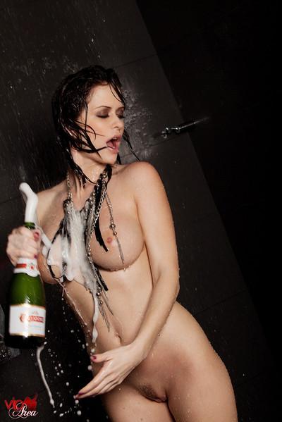 Emily Addison Busty Babe Enjoys Shower and Champagne