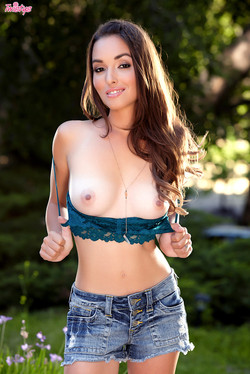 Sandy Sweet Sexy Brunette Drops Top and Denim Shorts
